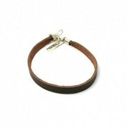 Leather Strap Bracelet - Brown - 18cm