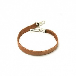 Leather Strap Bracelet - Tan - 20cm